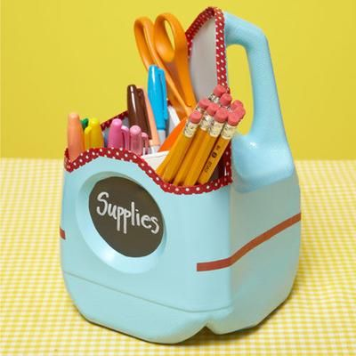 how make a school supply container from a milk jug
