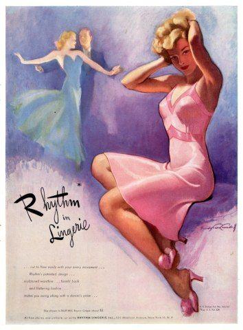 'Rhythm in Lingerie' 1945 vintage fashion print