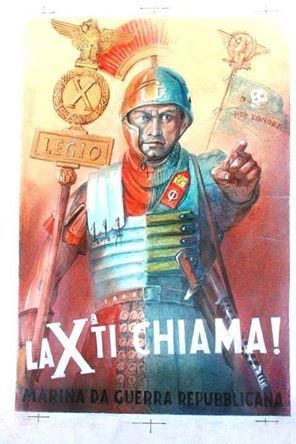Italian Fascist poster linking a Roman soldier to a WWII soldier