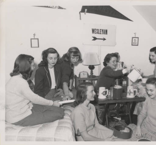 Students enjoy tea and each others company ca. 1940s :: Archives & Special Collections Digital Images