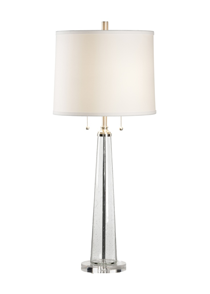 Chelsea House - Lamp from Lisa Kahn Collection, in glass with linen shade.    Showroom: 200 N. Hamilton S Ct 104 #hpmkt