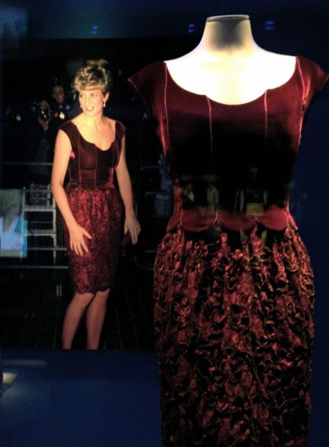 This 1997 Jacques Azagury graphite black evening dress was worn by Princess Diana at the Ritz Hotel to celebrate Sir James Goldsmith's election as a Euro MP. Description from tcdailyplanet.net. I searched for this on bing.com/images