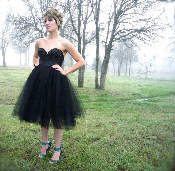 2 pc noir Bustier/Corset robe Tulle Tutu genou par darkponydesigns, $235.00