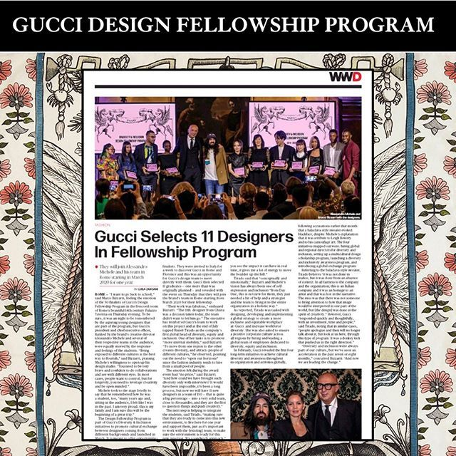 Gucci Selects 11 Designers In Fellowship Program They Will Join Alessandro Michele And His Team In Rome Starting I Career Fashion Dubai Fashion Fashion Design