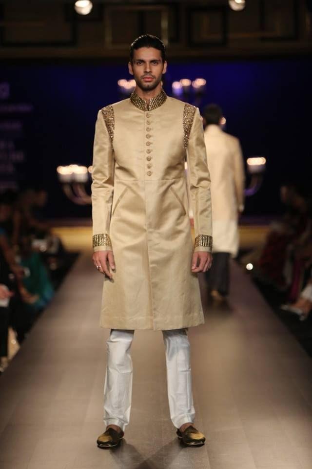 Manish Malhotra at India Couture Week 2014 - gold groom men's sherwani