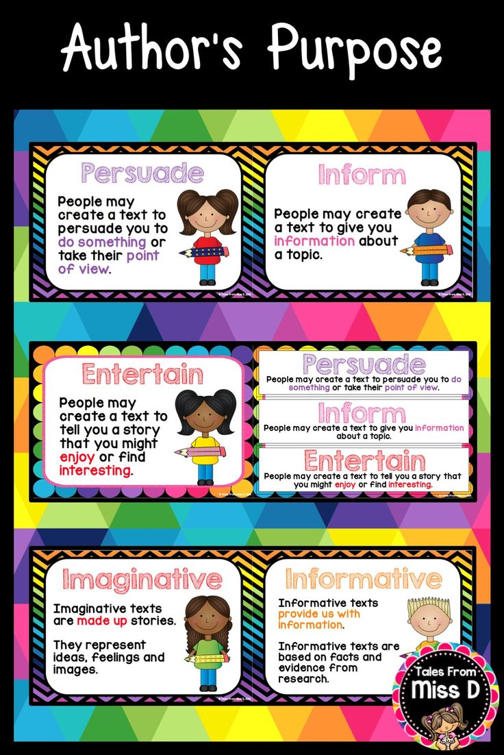 Teach your students about Text Types and Author Purposes with these 8 Text Type Posters. They come in 2 different designs. Includes: Posters explaining the 3 text types; persuasive, informative and imaginative Posters explaining the 3 purposes; persuade, inform and entertain, cards explaining the 3 purposes. © Tales From Miss D
