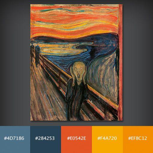 Color Palette: The Scream by Edvard Munch   Mobile Art