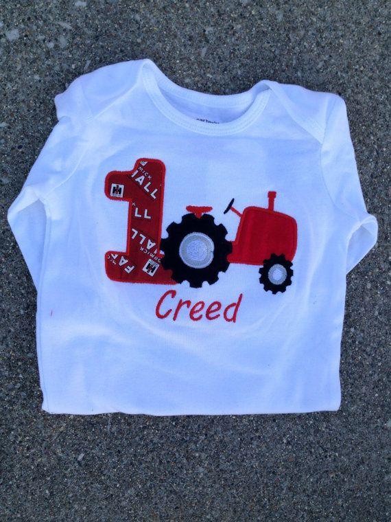 Red tractor birthday bodysuit : IH birthday by WildRoseBoutique2