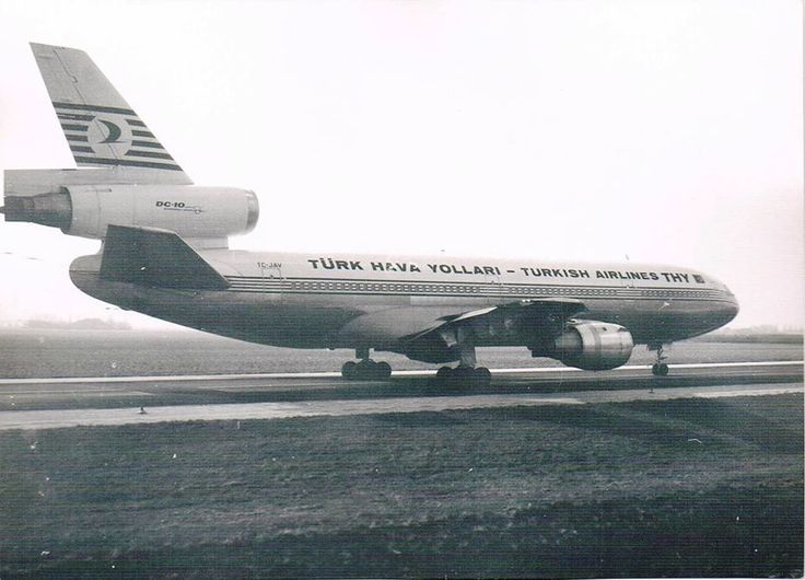 """Turkish Airlines (THY - Türk Hava Yolları) McDonnell Douglas DC-10-10 TC-JAV """"Ankara"""" on the taxiway at Amsterdam-Schiphol on 26th February 1974. Just 5 days later, TC-JAV crashed in the Ermenonville Forest, less than ten minutes after departing Paris-Orly, with the loss of all 346 on board. The subsequent investigation found gross negligence on the part of the manufacturer, which had known about a design flaw in the type's cargo door up to five years prior to the crash."""