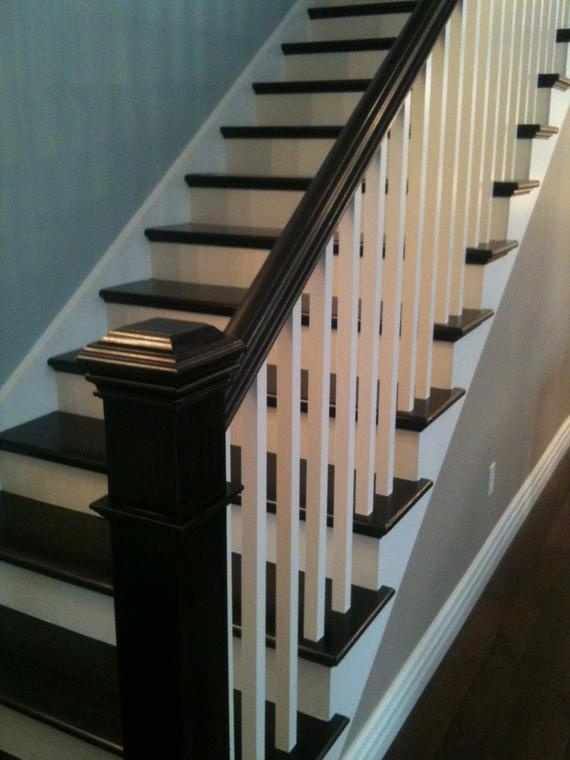 """Good pic to help plan the stairs in my house. The newell posts and railing painted dark (Porters """"Atlantic"""") with dark grey carpeted stairs, white (Dulux Lexicon 1/4) everywhere else on balusters, skirts, walls etc. Teamed with limewashed floors"""