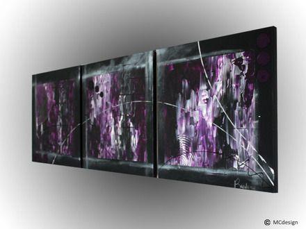 tableau toile art abstrait peinture d coration tryptique violet argent. Black Bedroom Furniture Sets. Home Design Ideas