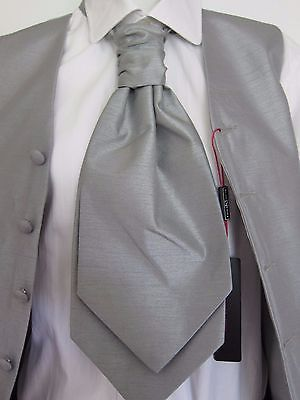 Grosgrain Black N White Silver Grey -MENS Ruche Wedding Polyester Tie-Cravat