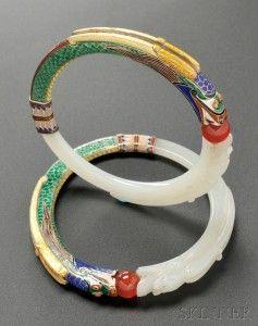 Rare Pair of Jade and Enamel Bangles, Marie Zimmermann (Lot 472, Estimate $25,000-$35,000)