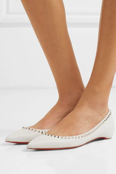 8de08af9c3d7 Christian Louboutin - Anjalina studded leather point-toe flats in ...