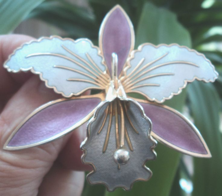 LARGE Norwegian Silver & Enamel Orchid Brooch - Aksel Holmsen Norway uk.picclick.com