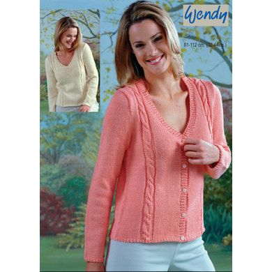 V-Neck Sweater and Cable Panel Cardigan Free Knitting Pattern