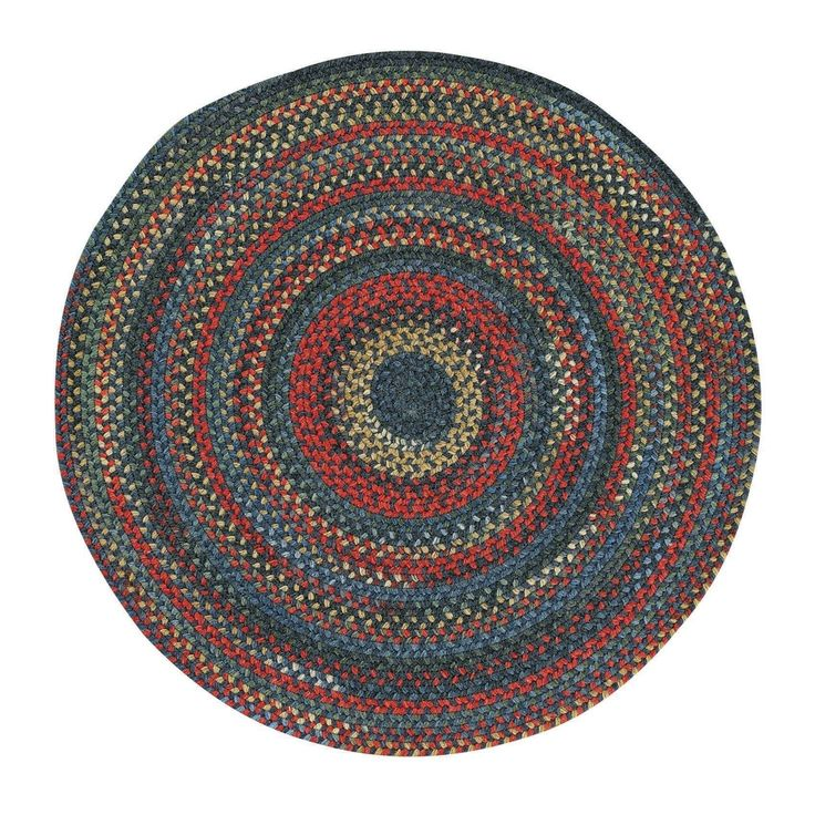 "Capel Rugs Songbird Blue Round Braided Rugs (9'6"" x 9'6""), Size 9' x 9'"