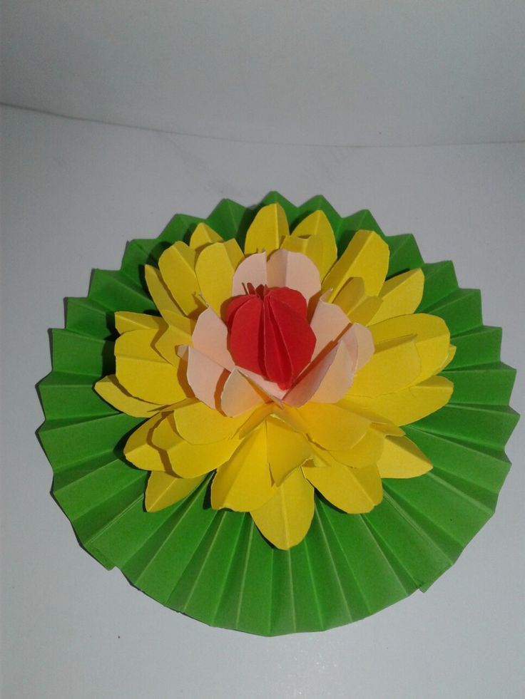 These yellow lotus flower is made with color papers.