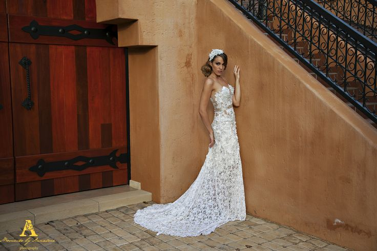 Sheer, de-constructed Lace Wedding Gown.