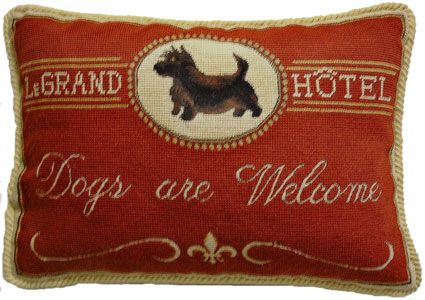"""Scottie """"Dogs Are Welcome"""" Needlepoint Pillow"""