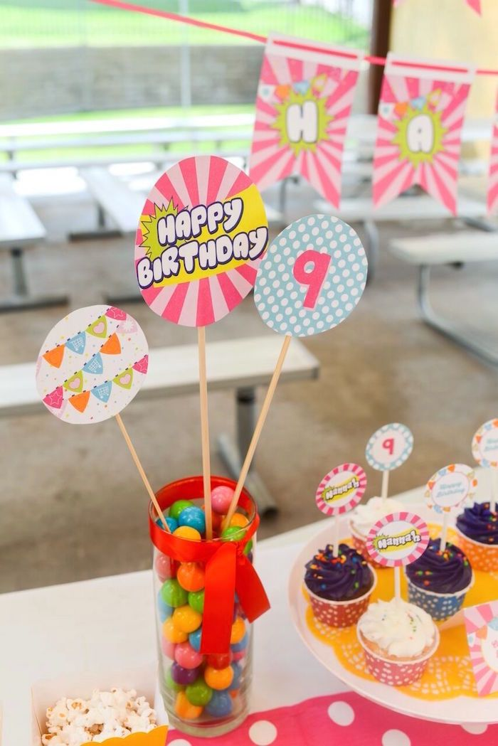 Candy centerpiece from vibrant shopkins birthday party at