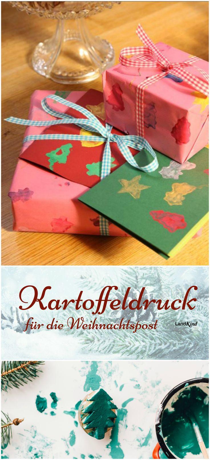 Mit den selbstgeschnitzten Kartoffelstempeln lassen sich nicht nur Karten für die Weihnachtspost, sondern auch das Geschenkpapier ganz persönlich gestalten und verzieren.