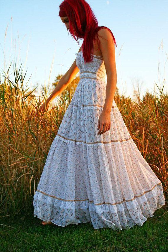1970s Gunne Sax Maxi Hippie Halter Dress