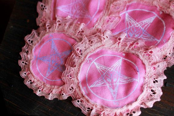 Pink Lacey Glittery Pentagram Patch