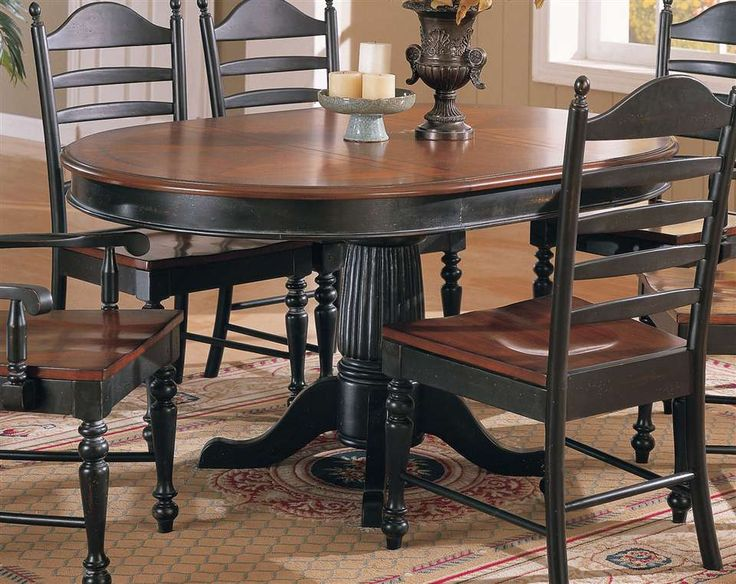 Cottage Single Pedestal Dining Table Cherry Ebony Finish With Ladder Back Chairs