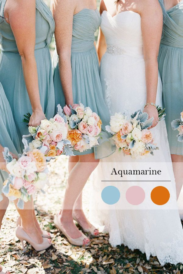 aquamarine spring wedding color idea and bridesmaid dress trend 2015