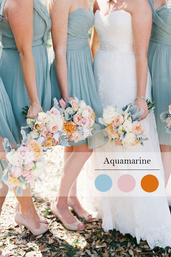 aquamarine spring wedding color idea and bridesmaid dress trend 2015