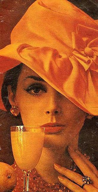 Wilhelmina Cooper in Orange Hat 1950s