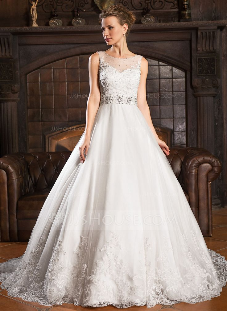 Nice Ball Gown Scoop Neck Court Train Tulle Wedding Dress With Lace Beading Sequins