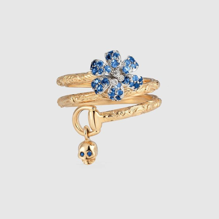 Gucci Flora ring with sapphires - rose gold by Gucci