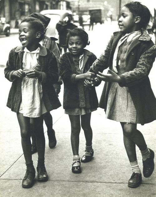 THANK HEAVEN FOR LITTLE GIRLS | 1947 African American girls walking the streets of Harlem, NYC, 1947. Photo by Morris Engel.