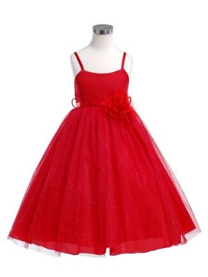 Red Glittering Ballerina Flower Girl Dress  SKU : KD264RD  Availability: In stock  List Price: $129.99  Sale Price: $44.99  You Save: $85.00 (65.4%)  Quick Overview  A classic satin bodice ballerina girl dress with glittering soft mesh overlay skirt is perfect for casual or formal events for girls.