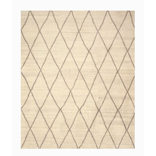 EORC Hand Knotted Wool Ivory Trellis Moroccan Rug 10 X 14 RugsLiving Room