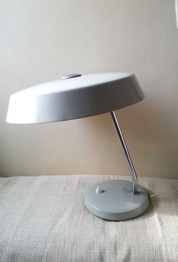 Vintage Grey Desk Lamp Office Table Lamp Light by AntiquEmporiums