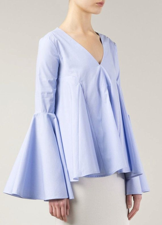 FLARED BABY BLUE TOP with Bell Sleeves COTTON-POPLIN and PIQUÉ Top Blue cotton flared trumpet sleeves top (also available in white) This baby blue