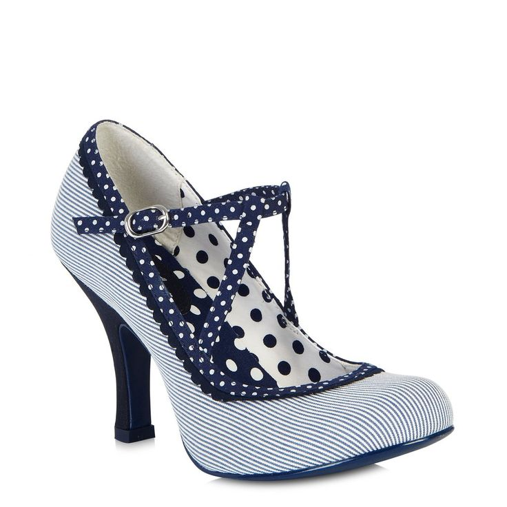 Ruby Shoo Jessica Blue Stripe Shoes