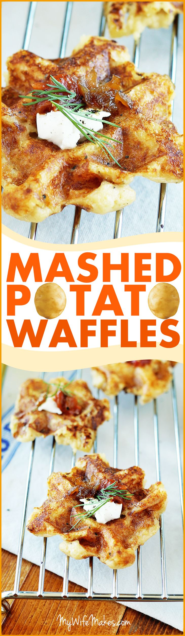 Simple vegan Mashed Potato Waffles; moist and crispy on the outside, warm and creamy on the inside. These potato waffles also go great with salsa, vegan cream cheese, and caramelized onions (gotta love 'em onions!).