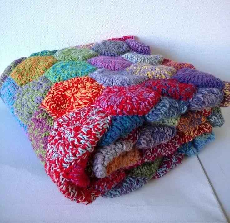 deken van rondjes als hexagonnetjes, met dubbele draad