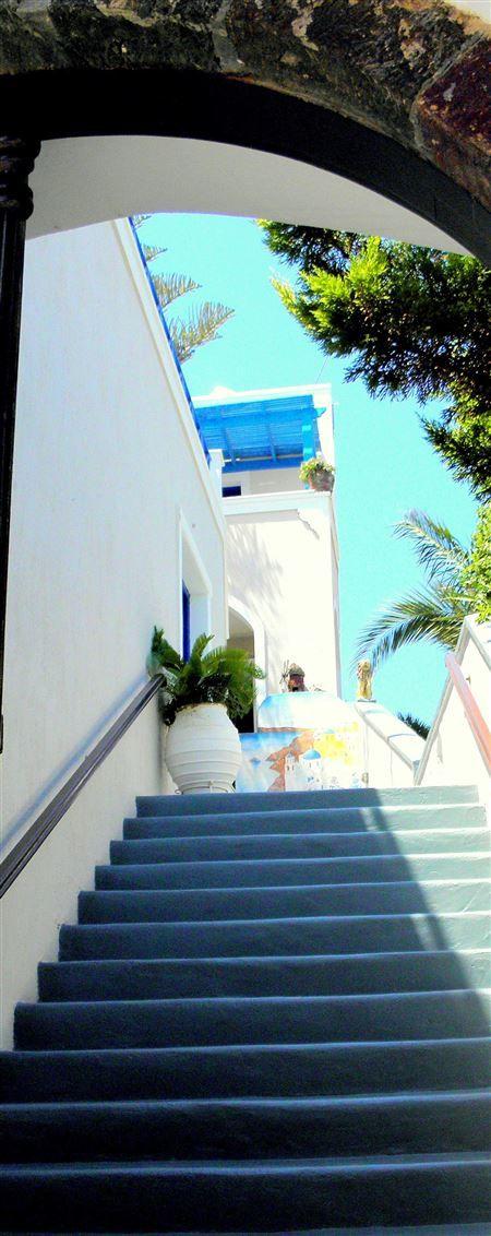 Fira hotel entrance Santorini --  For more photos, visit our page ====   Azamara Club Cruises - Greek Island Cruise July 2015