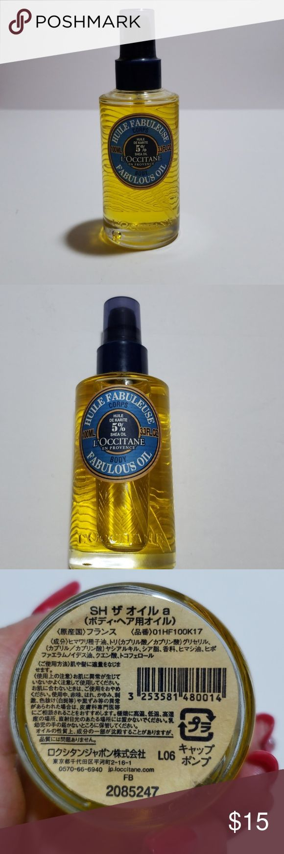 Loccitane shea fabulous oil Loccitane, Body oil, Oils