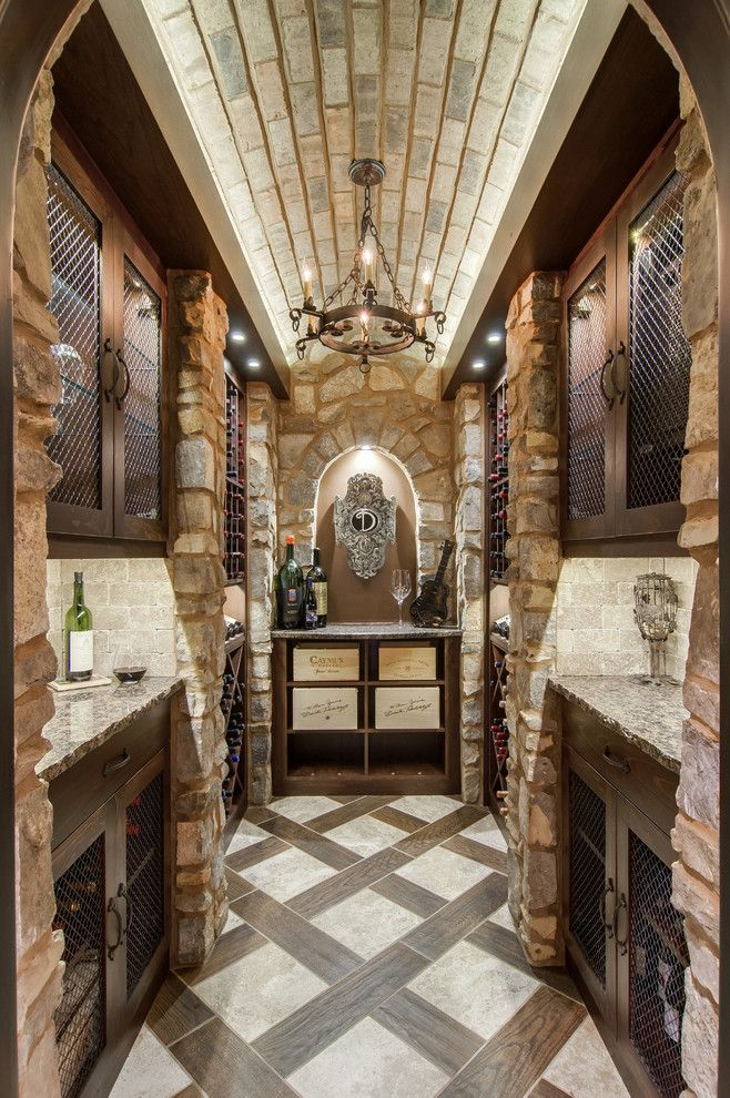 Gorgeous Wire Mesh For Cabinets Decorating Ideas In Wine Cellar Mediterranean Design Ideas With Gorgeous Barrel