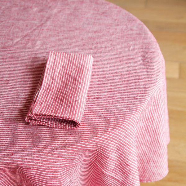 Shop Fog Linen U2014 Tablecloth: Red Thin White Stripe
