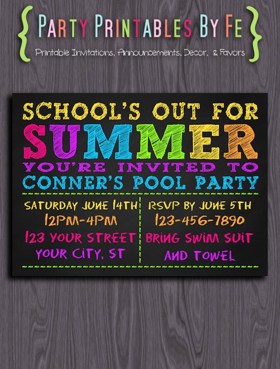 Printable Pool Party Invitation School S Out For Summer