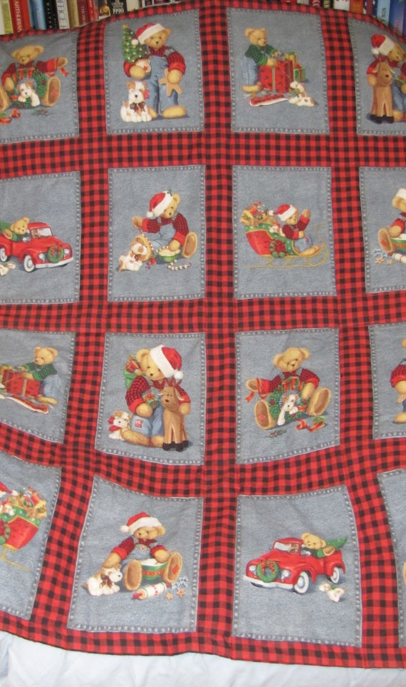 Christmas Teddy Bear Quilt by GrrrrsGifts on Etsy, $25.00