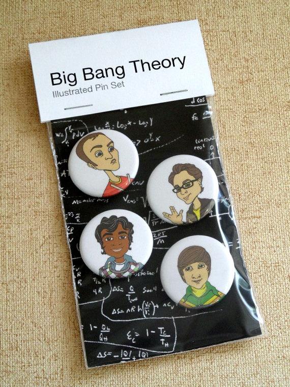 Pin back Buttons Illustrated Big Bang Theory by RitaVanTassel, $6.95