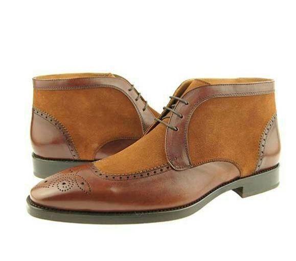 Handmade Men brown chukka boots, Men suede and leather ankle boots, Men boots #Handmade #Ankleboot